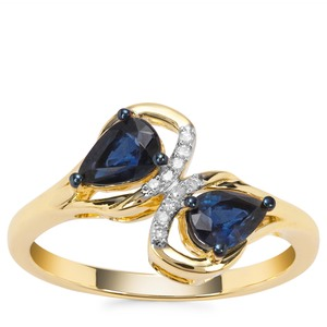 Natural Nigerian Blue Sapphire Ring with Diamond in 9K Gold 1cts