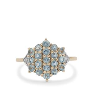 Santa Maria Aquamarine Ring with Diamond in 9K Gold 1.15cts