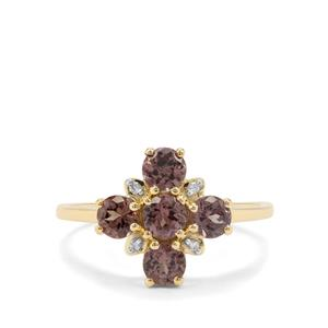 Miova Loko Garnet & Diamond 9K Gold Ring ATGW 1.62cts