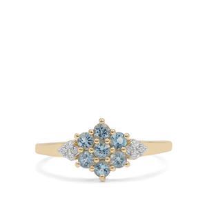 Santa Maria Aquamarine & White Zircon 9K Gold Ring ATGW 0.45ct