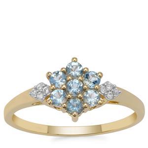 Santa Maria Aquamarine Ring with White Zircon in 9K Gold 0.45ct