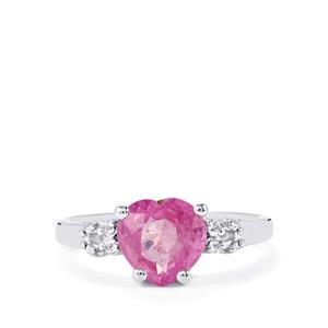 Ilakaka Hot Pink Sapphire Ring with White Topaz in Sterling Silver 2.66cts (F)