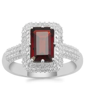 Nampula Garnet Ring with White Zircon in Sterling Silver 3.14cts