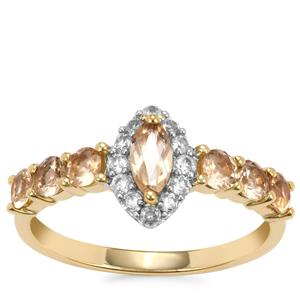 Ouro Preto Imperial Topaz Ring with White Zircon in 10K Gold 1.27cts