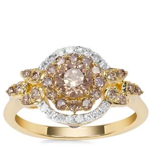 Champagne Diamond Ring with White Diamond in 9K Gold 1.02cts