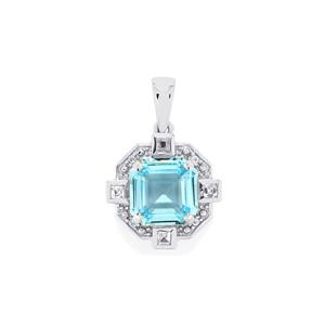 Sky Blue Topaz Pendant with White Topaz in Sterling Silver 6.54cts