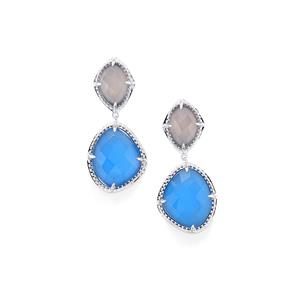 Pink Chalcedony Earrings with Blue Chalcedony in Sterling Silver 32.76cts