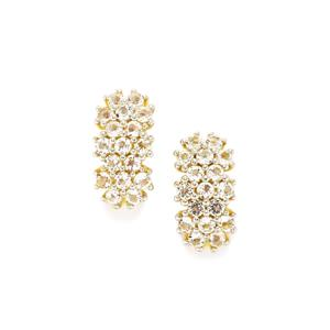 White Topaz Earrings in Gold Plated Sterling Silver 1.43ct