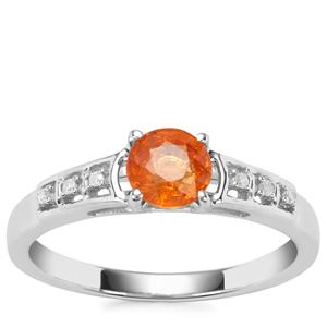 Mandarin Garnet Ring with Diamond in Sterling Silver 1.03cts