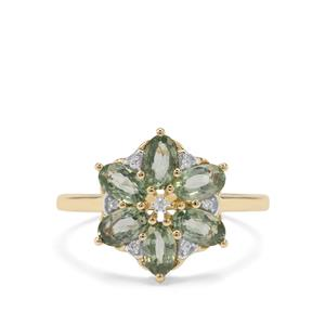 Green Sapphire Ring with Diamond in 9K Gold 1.90cts