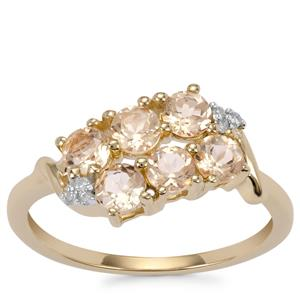 Ouro Preto Imperial Topaz Ring with Diamond in 9K Gold 1.05cts