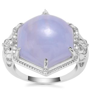 Blue Lace Agate Ring with White Zircon in Sterling Silver 9.16cts