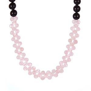 Black Onyx Necklace with Morganite in Sterling Silver 272.45cts