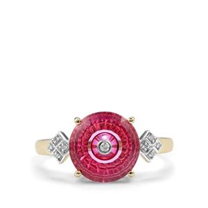 Lehrer TorusRing Pink Topaz Ring with Diamond in 9K Gold 3.21cts