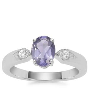 Bengal Iolite Ring with White Zircon in Sterling Silver 0.97ct