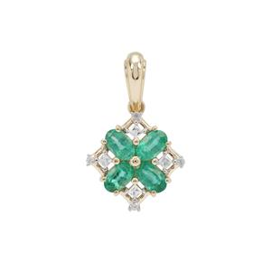 Zambian Emerald Pendant with White Zircon in 9K Gold 1.05cts