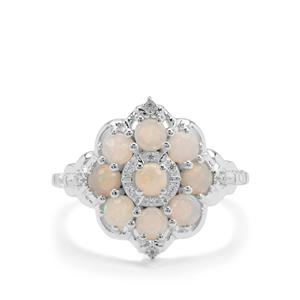 Coober Pedy Opal Ring with White Zircon in Sterling Silver 0.97ct