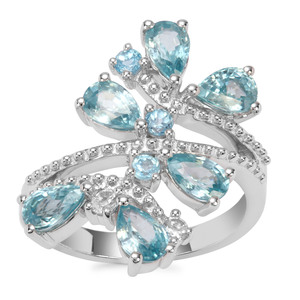 Ratanakiri Blue Zircon Ring with Swiss Blue Topaz in Sterling Silver 4.42cts