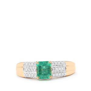 Ethiopian Emerald Ring with Diamond in 18K Gold 1ct