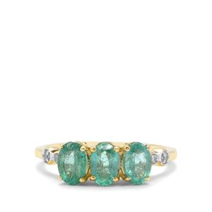 Zambian Emerald & White Zircon 9K Gold Ring ATGW 1.35cts