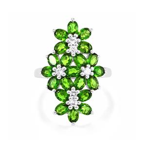 Chrome Diopside Ring with White Topaz in Sterling Silver 3.94cts