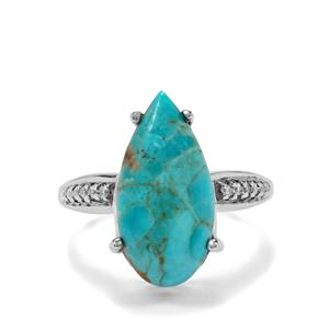 Cochise Turquoise & White Zircon Sterling Silver Ring ATGW 6.33cts