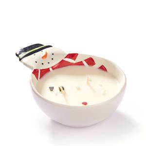 Snowman Treat Bowl Candle with Gemstones ATGW 10cts