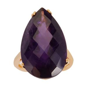 18ct Ametista Amethyst Ring in Gold Tone Sterling Silver