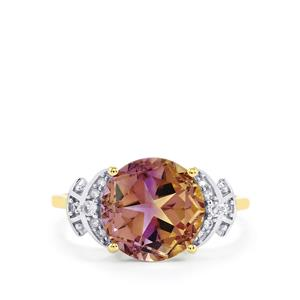 Anahi Ametrine Lone Star Ring with White Zircon in 10K Gold 4.17cts