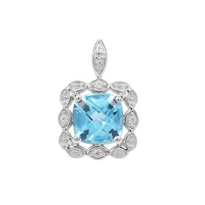 Swiss Blue Topaz Pendant with White Zircon in Sterling Silver 1.77cts
