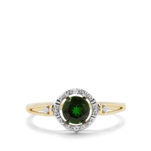 Chrome Diopside Ring with White Zircon in 9K Gold 0.82ct