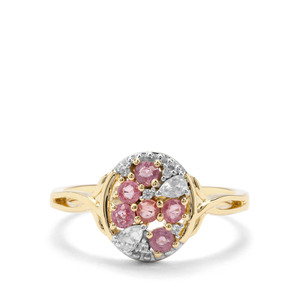Padparadscha Sapphire & White Zircon 9K Gold Ring ATGW 0.67cts