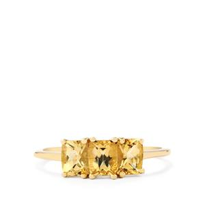 1.42ct Imperial Topaz 9K Gold Ring