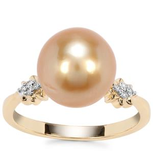 Golden South Sea Cultured Pearl Ring with Diamond in 9K Gold (11 x 10mm)