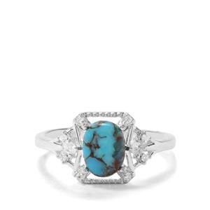 Egyptian Turquoise & White Zircon Sterling Silver Ring ATGW 1.34cts