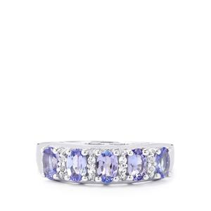 Tanzanite Ring with White Topaz in Sterling Silver 1.27cts
