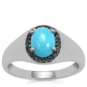 Sleeping Beauty Turquoise Ring with Blue Diamond in Sterling Silver 1.23cts