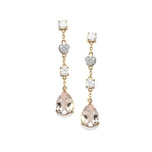 Alto Ligonha Morganite Earrings with White Zircon in 10K Gold 2.54cts