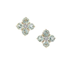 Aquaiba™ Beryl Earrings with Diamond in 9K Gold 1.20cts