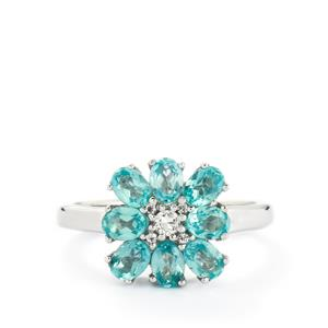 Madagascan Blue Apatite & White Topaz Sterling Silver Ring ATGW 1.85cts
