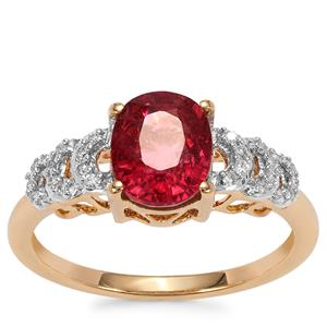 Nigerian Rubellite Ring with White Diamond in 18K Gold 2cts