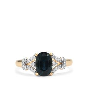 Nigerian Blue Sapphire Ring with Diamond in 18K Gold 1.63cts