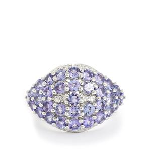 AA Tanzanite & White Topaz Sterling Silver Ring ATGW 4.13cts