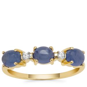 Burmese Blue Sapphire Ring with White Zircon in 9K Gold 1.80cts