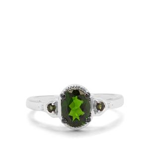 Chrome Diopside, Green Tourmaline & White Zircon Sterling Silver Ring ATGW 1.26cts