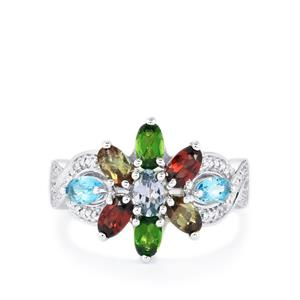 Kaleidoscope Gemstones Ring in Sterling Silver 2.34cts