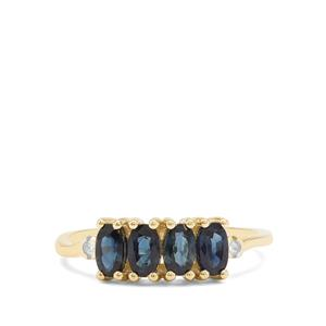 Australian Blue Sapphire & Diamond 9K Gold Ring ATGW 1.34cts
