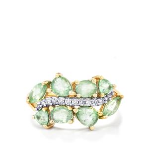 Paraiba Tourmaline Ring with Diamond in 10k Gold 2.03cts