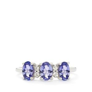 AA Tanzanite & White Zircon 10K White Gold Ring ATGW 1.46cts
