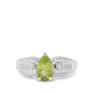 Red Dragon Peridot & White Zircon Sterling Silver Ring ATGW 1.56cts